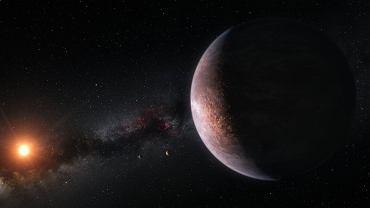 Artystyczna wizja planet krążących wokół ultrachłodnego czerwonego karła Trappist-1