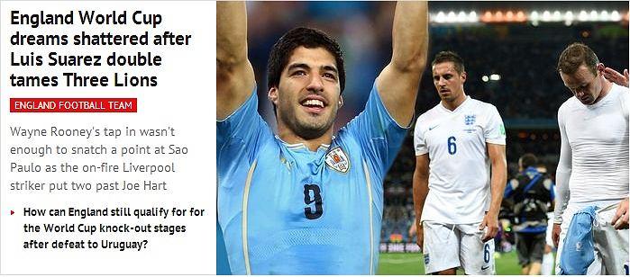Mirror Online: Marzenia Anglii o mistrzostwach świata rozwiane, po tym jak Suarez dwukrotnie oswoił 'Three Lions'