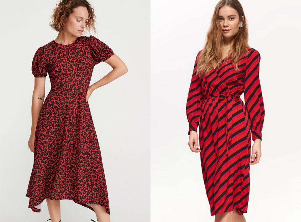 Czerwone sukienki we wzory