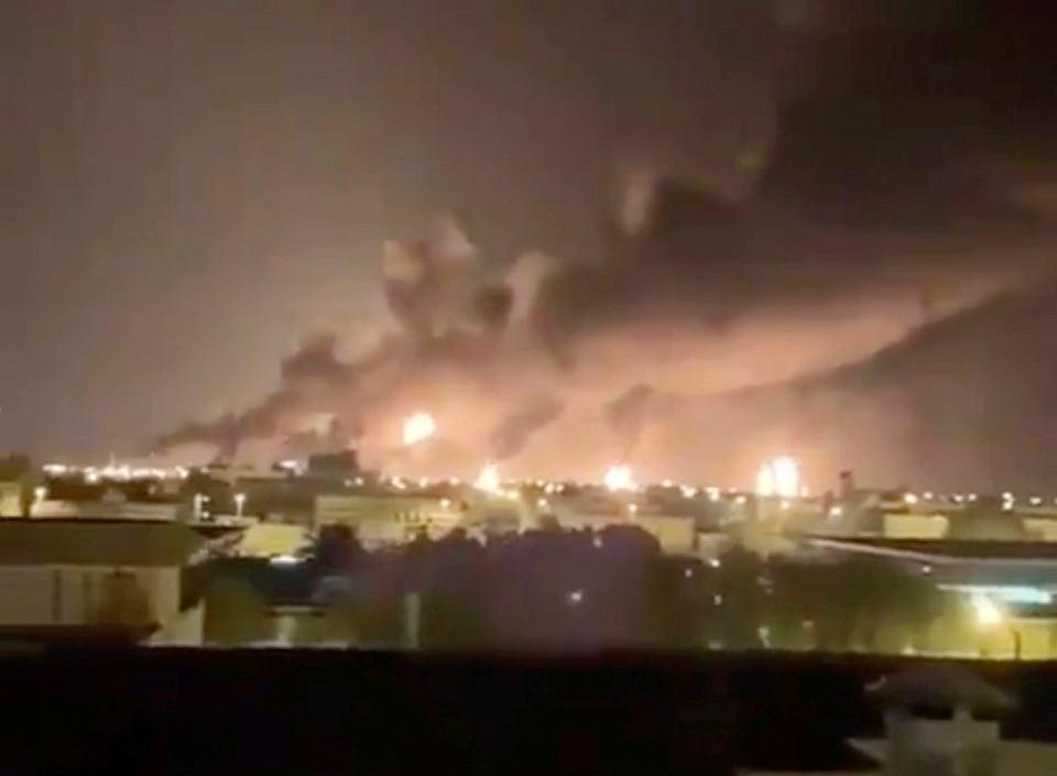 Pożar rafinerii w Abqaiq, zaatakowanej przez drony , 14 września 2019, Arabia Saudyjska