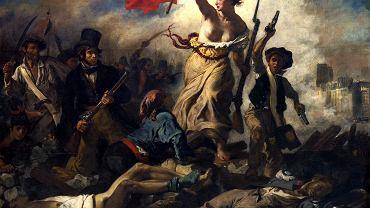 Marianna na obrazie Eugene'a Delacroix 'Wolność wiodąca lud na barykady', 1830 r.
