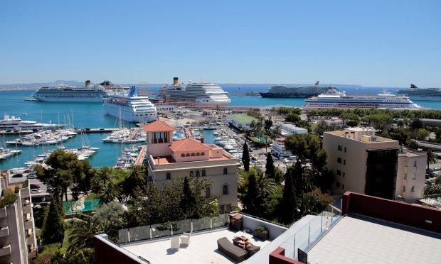 Widok na port w Palma de Mallorca
