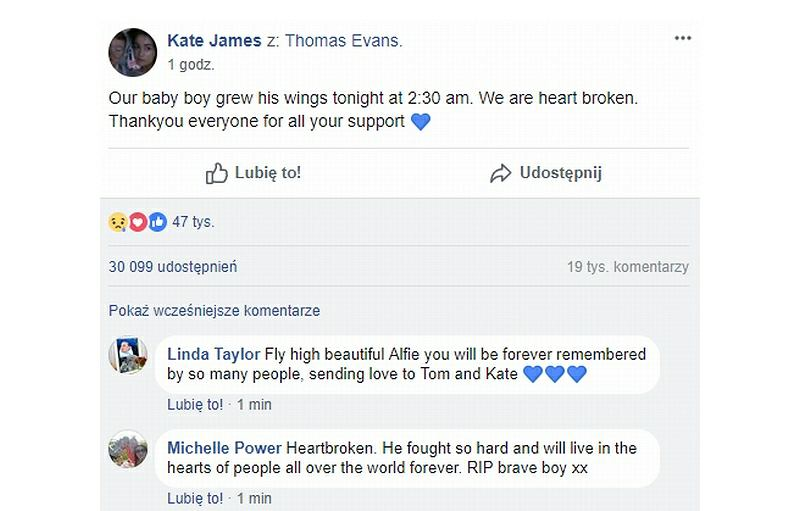 Wpis Kate James na Facebooku