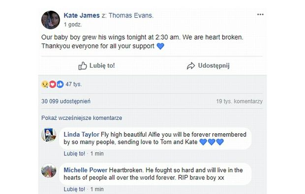 Wpis Kate James na Facebooku