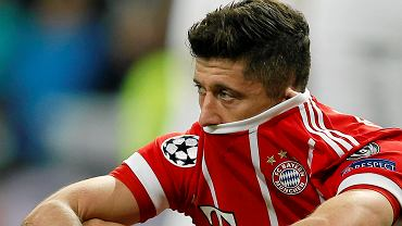 Bayern's Robert Lewandowski looks disappointed when his team failed to advance to the final during the Champions League