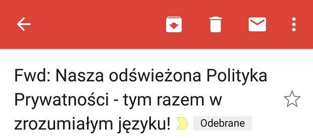 Informacja o zmianach tym razem po Polsku