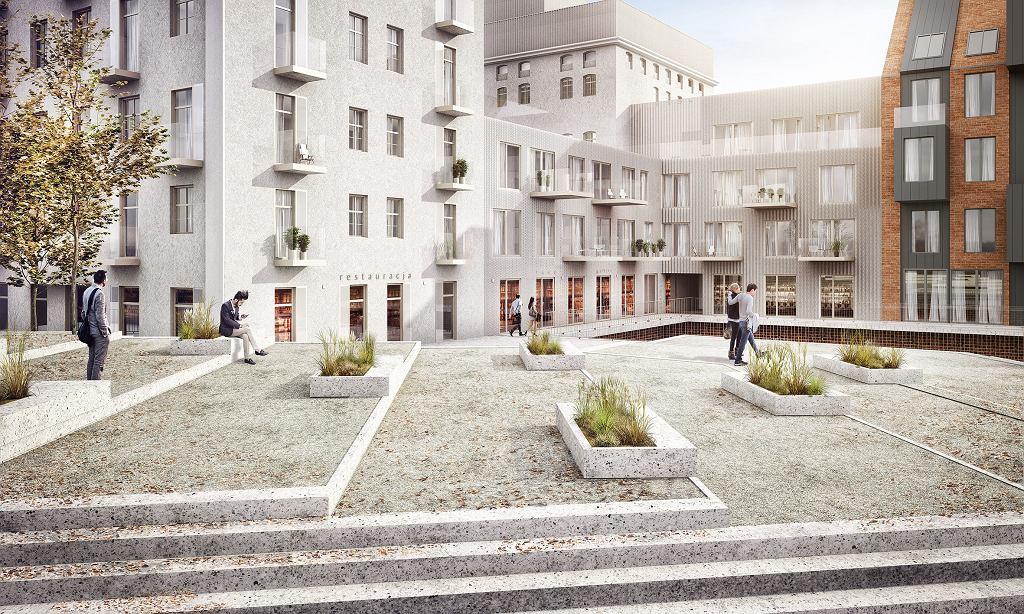 Inwestycja Młyn Maria we Wrocławiu firmy RealCo Property Investment and Development. Pod terenem wypoczynkowym jest ukryty garaż podziemny