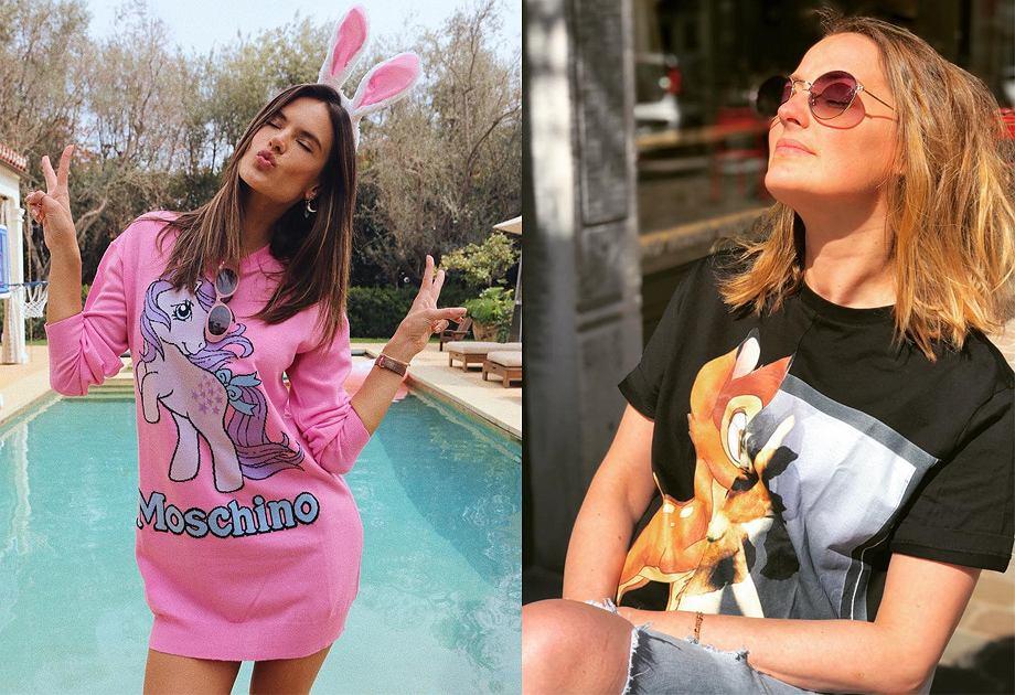 Bluza Moschino i koszulka Givenchy z postaciami z kreskówek