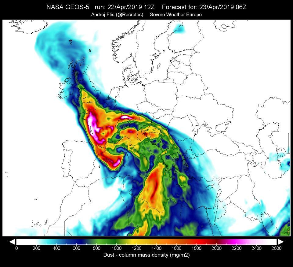Prognoza ilości pyłu nawianego znad Sahary w powietrzu nad Europą