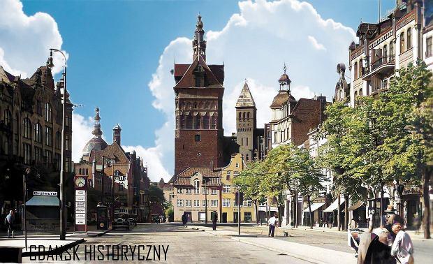 Zdjęcie numer 15 w galerii - Zdjęcia przedwojennego i powojennego Gdańska w kolorze. Zieleń drzew i czerwone cegły Bazyliki Mariackiej