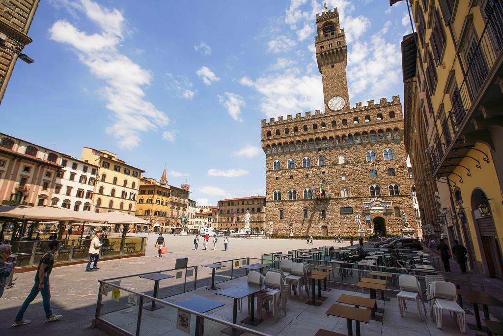 Koronawirus we Włoszech, Piazza della Signoria we Florencji.