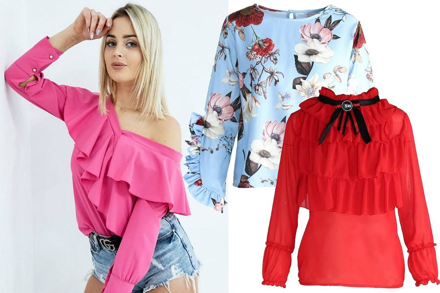 Kolorowe bluzki z falbankami