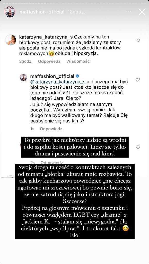 Maffashion zdradziła szczegóły konfliktu z Jackiem Kurskim