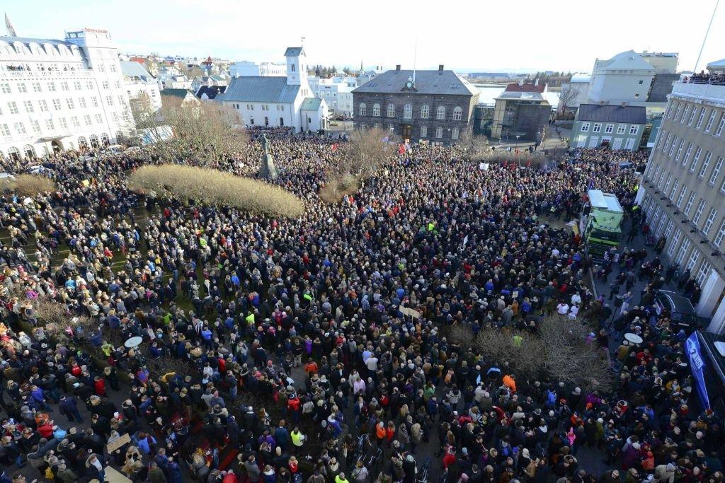 Demonstracja w stolicy Islandii.