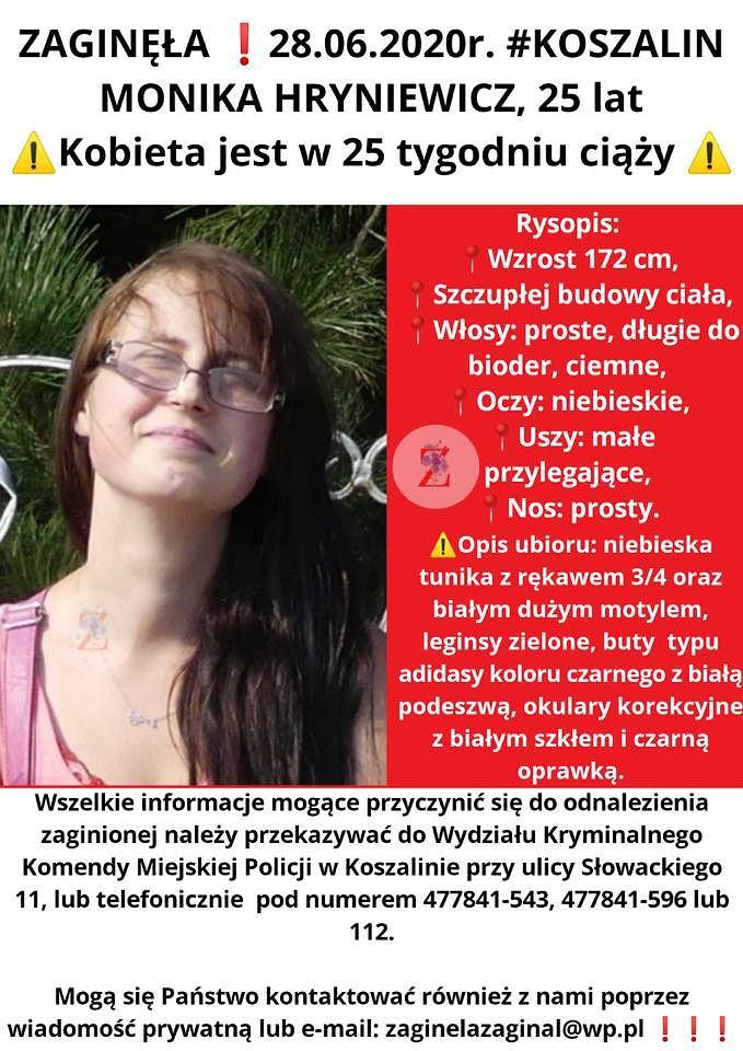 Komunikat o poszukiwaniach Moniki Hryniewicz zamieszczony 7 lipca na profilu Zaginieni Cała Polska