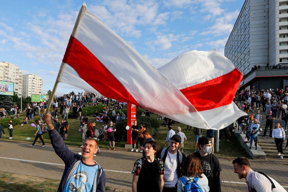 Protest przeciw oszustwom wyborczym w Mińsku, 13 sierpnia 2020 r.