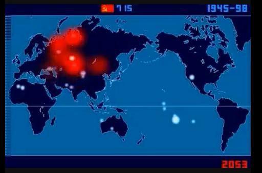 Kadr z filmu Isao Hashimoty pokazującego testowe wybuchy jądrowe.