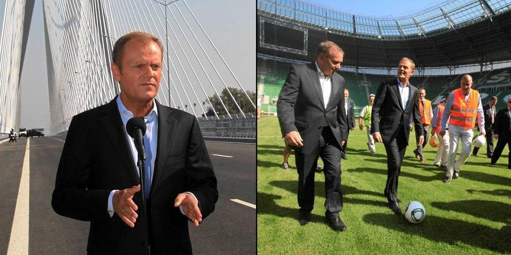 Donald Tusk na moście Rędzińskim i na nowym stadionie miejskim we Wrocławiu z Grzegorzem Schetyną i Rafałem Dutkiewiczem