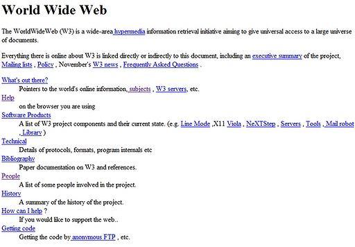 Pierwsza strona World Wide Web (3 listopada 1992)