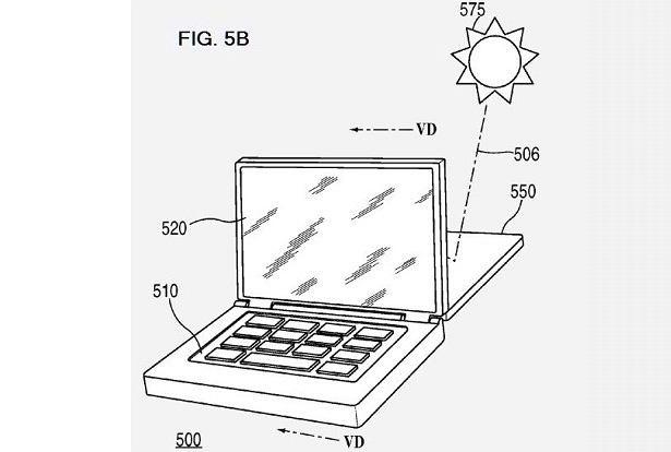 Wykorzystanie energii słonecznej w urządzeniach Apple - fragment wniosku patentowego