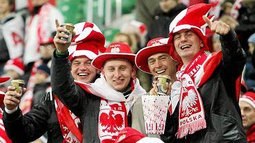 Kibice na meczu Polska - Włochy, na Stadionie Miejskim we Wrocławiu