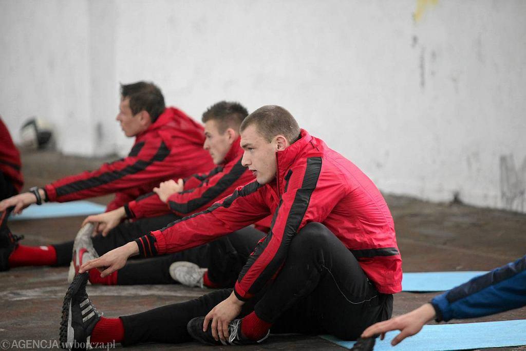 Mateusz Słodowy na treningu Górnika (styczeń 2012)