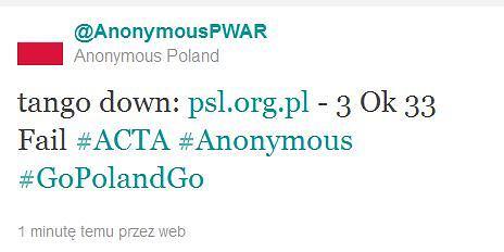 Anonimowi atakują PSL