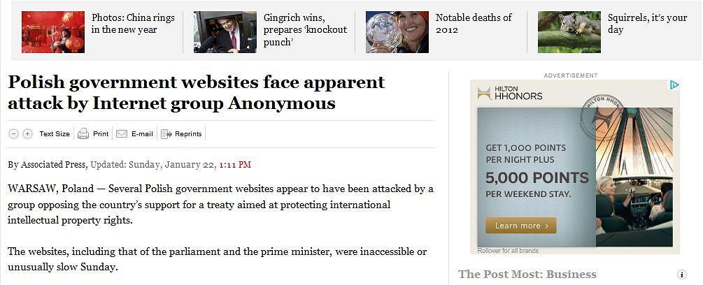 The Washington Post o atakach Anonymous