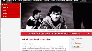 Informacja o śmierci Włodzimierza Smolarka zamieszczona na stronie Utrechtu