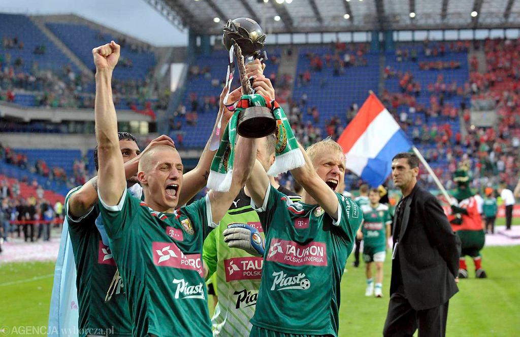 Radość Śląska po zdobyciu mistrzostwa Polski na stadionie Wisły w Krakowie