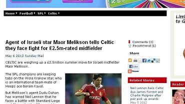 """""""Daily Record"""" pisze o transferze Maora Meliksona"""