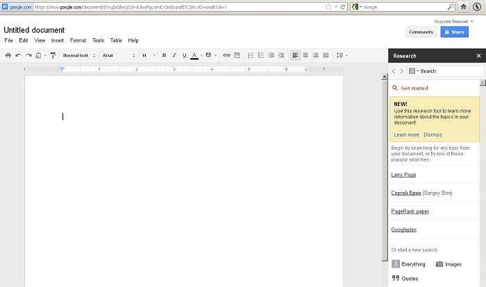 W Google Docs pojawiła się opcja nazwana Research Tool