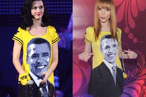 Ciekawe, czy Kasia Burzyńska wkładając sukienkę z wizerunkiem Baracka Obamy na wczorajszą imprezę magazynu Joy wiedziała, że kilka miesięcy temu na gali MTV Europe Music Awards miała ją na sobie Katy Perry. Sukienka jest prawie taka sama. Prawie, bo na pierwszy rzut oka widać, że Kasia miała na sobie dużo tańszą wersję kreacji.