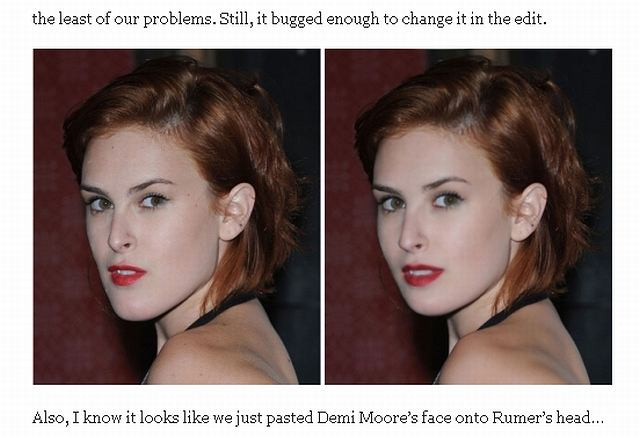Rumer Willis przed i po zabiegach w photoshopie