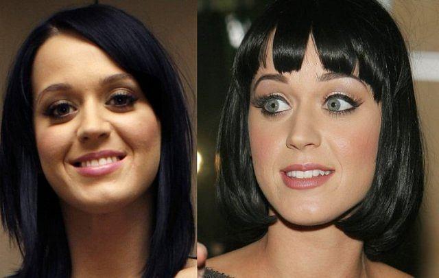 Katy Perry z pełnym makijażem po prawej i z lekkim po lewej. Prawie te same dziewczyny...