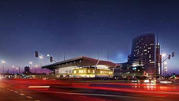 Widok Dworca Centralnego po liftingu w nocy