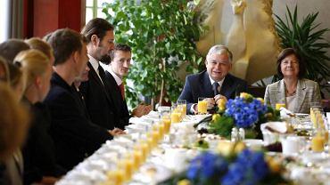 Lech Kaczyński podczas spotkania ze sportowcami w Wiśle, październik 2008