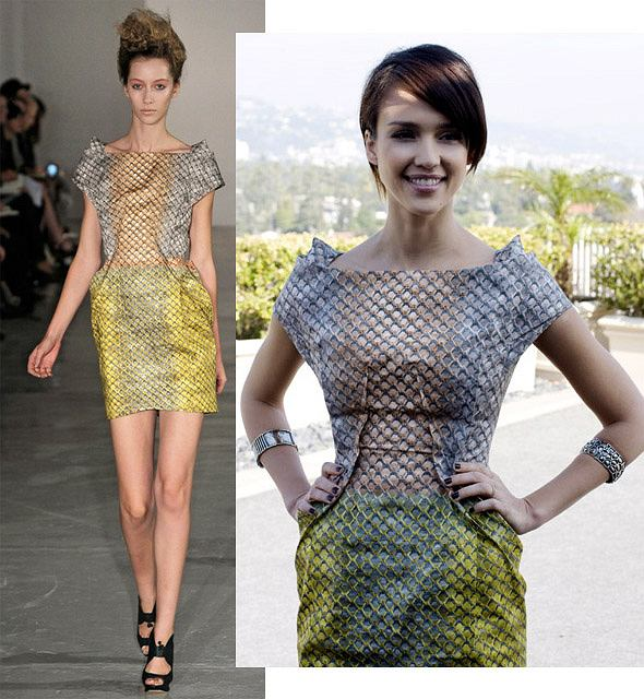 Jessica Alba w sukience Petera Pilotto