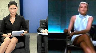 Joanna Mucha podczas debaty prawyborczej PO i Sharon Stone w ''Nagim instynkcie''