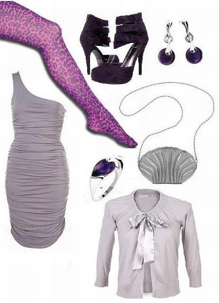 Rajstopy reserved; pantofle Bucikowo.pl; biżuteria Apart; asymetryczna sukienka TopShop; torebka-muszla Orsay; kardigan wiązany na kokardę Top Secret.