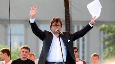 Janusz Palikot podczas swojego wiecu