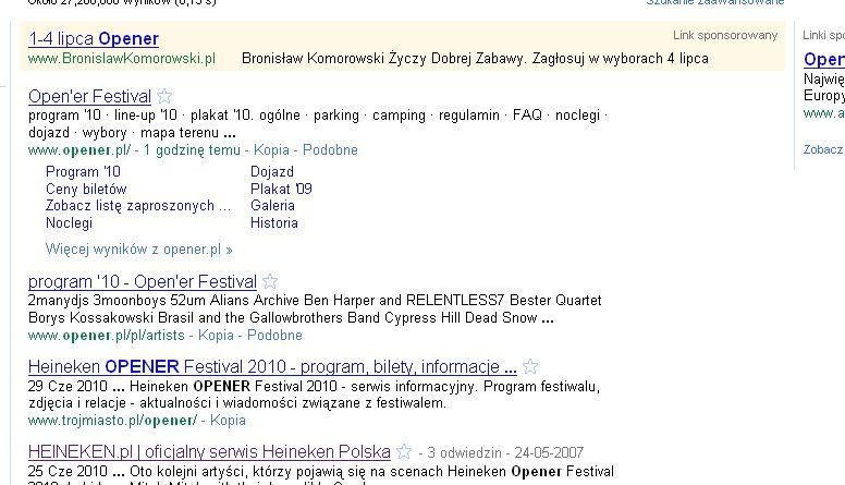 Strona Bronisława Komorowskiego pozycjonuje się na hasło Opener/ Google.pl