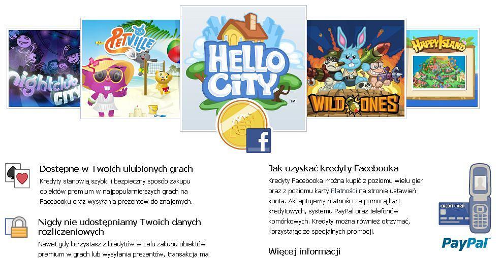 Kredyty Facebooka - waluta serwisu