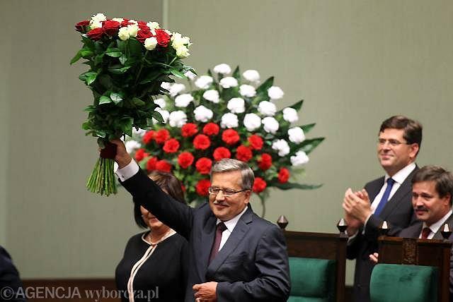 Prezydencka para podczas zaprzysiężenia Bronisława Komorowskiego. 6 sierpnia 2010