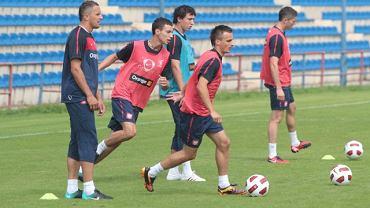 Reprezentacja Polski w  piłce nożnej podczas treningu