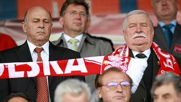 Polska - Ukraina 1:1. Lech Wałęsa i Grzegorz Lato