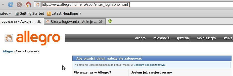 Fałszywa strona logowania do Allegro