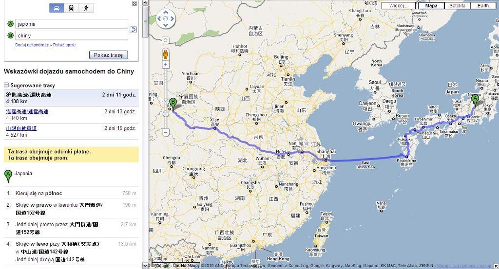 Trasa z Japonii do Chin, serwis mapy Google