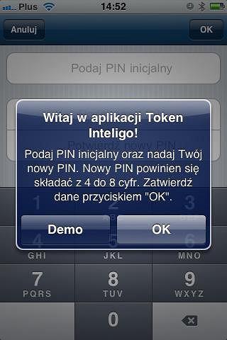 Aplikacja tokena Inteligo - początek.