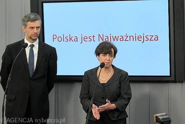 Poncyljusz i Kluzik-Rostkowska w momencie mianowania go na szefa PJN